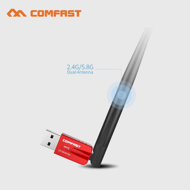 Comfast 600 Dual Band Wireless USB wifi Dongle מתאם עם 5dBi אנטנת bluetooth אלחוטי רשת Lan כרטיס 802.11b/ g/n/ac