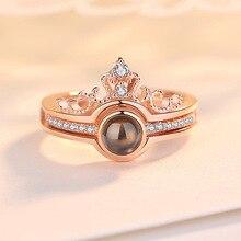 Розовое золото и серебро 100 языков я люблю тебя Проецирование кольцо воспоминания о романтической любви обручальное кольцо ювелирные изделия Прямая поставка