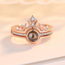 Rose Gold&Silver 100 languages I love you Projection Ring Romantic Love Memory Wedding Ring Jewelry Dropshipping(China)