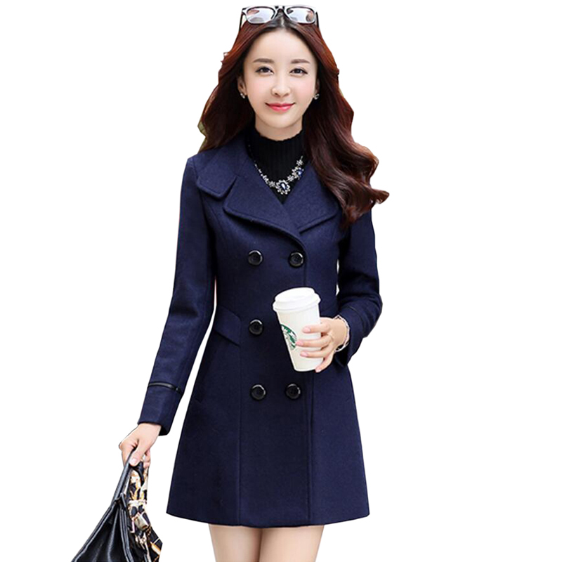 Women Woolen Coats 2018 New Female Autumn Winter Jackets Elegant Wool Blends Trench Coat Ladies Windbreaker Outwear Plus Size