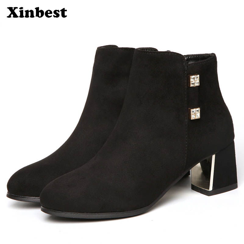Xinbest New Women Boots Round Toe Women High Heel Shoes Casual Fashion Womens Winter Boots Square heel Ankle Boots For Women basic 2018 women thick heel ankle boots black pu fleeces round toe work shoe red heel winter spring lady super high heel boots