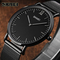 2017 New Skmei Top Brand Luxury Quartz watch Casual Sports Watches Men Black quartz-watch steel Mesh strap ultra thin clock male