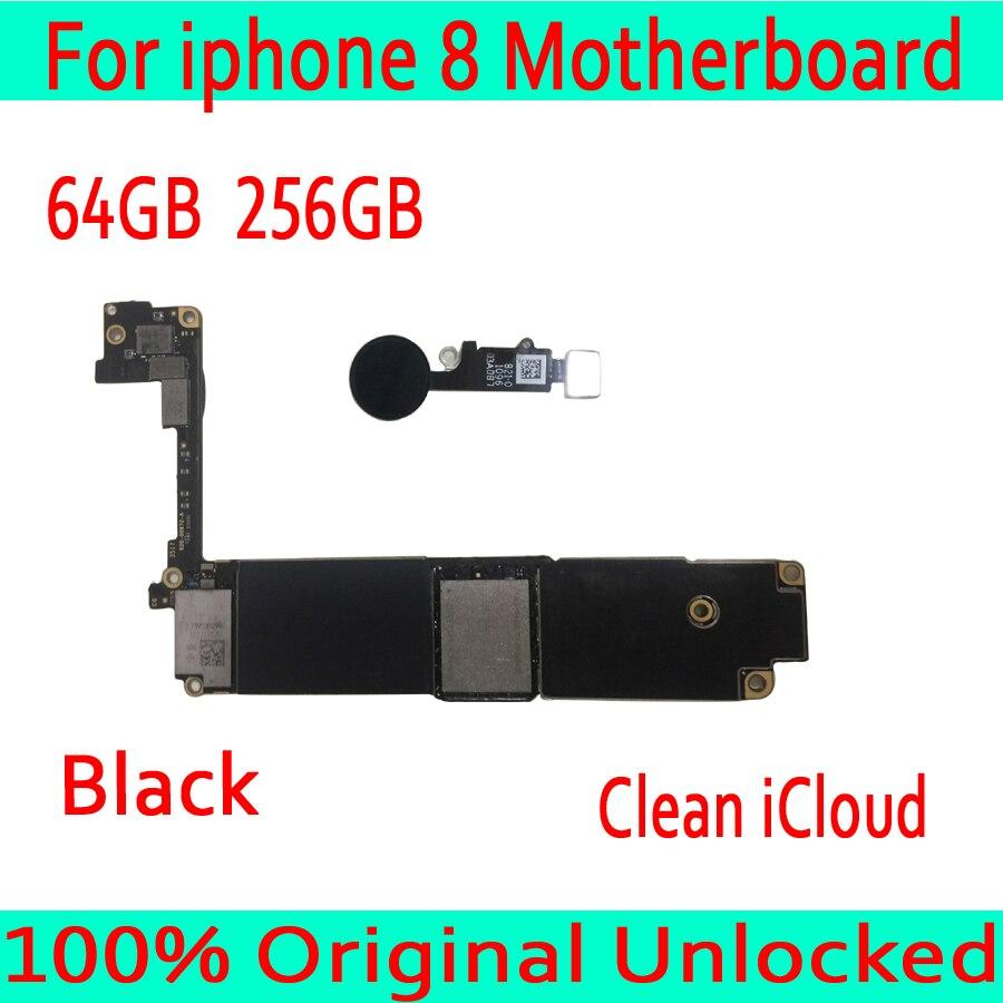 Com Fichas Completas para iphone 8 Motherboard desbloqueado com Toque ID, 100% Original para iphone 8 Mainboard 64 GB/256 GB com o Sistema IOS