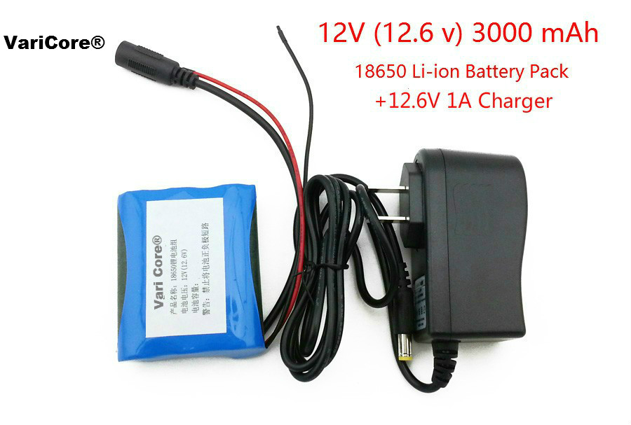 12 V 3000 mAh 18650 Li-ion Rechargeable battery and 12.6V 1A Charger cctv camera 24 v 29 4 v 10 000 mah li ion battery for led lights emergency power source and mobile devices