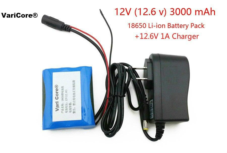 12 V 3000 mAh 18650 Li-ion recargable de la batería y 12,6 V 1A cargador de cámara de cctv