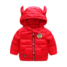 Girls boys baby autumn  winter coat small horn hooded warm cotton down jacket Children outwear new Brand Kids Clothes 2-6Y