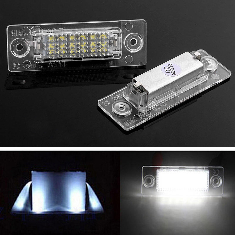 2PCS No Error Car 18LED Number License Plate Light LED Lamp For VW Golf Jetta Caddy Touran T5 Caddy Passat Cimousint Touran 2pcs 18smd no error led number license plate light lamp oem direct fit for chevrolet cruze all cars 2009 canbus with decoder