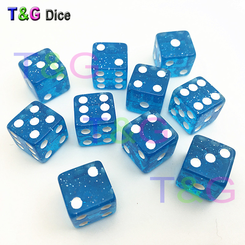10pcs/set T&G Dice High Quality 12mm Blue Glitter Dice Dados Dyd