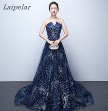 цены Laipelar V-neck Navy Blue Long Dress Lace Beaded Vintage Prom Gowns Vestido De Festa Off The Shoulder Cheap Evening Gown