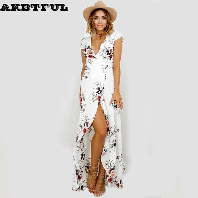 Sortie plage de longueur de plancher robe blanche d 39 t longue maxi robe robe longo boho boh me - Sortie de plage femme ...