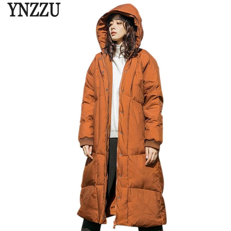 YNZZU New Arrivals Winter Jackets Women Fluffy Duck   Down     Coat   Vintage Long Warm Hooded Loose Outwear Women's   Down   Jacket YO725