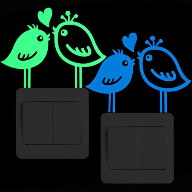 glow in the dark bird stickers for walls decoration kids room diy