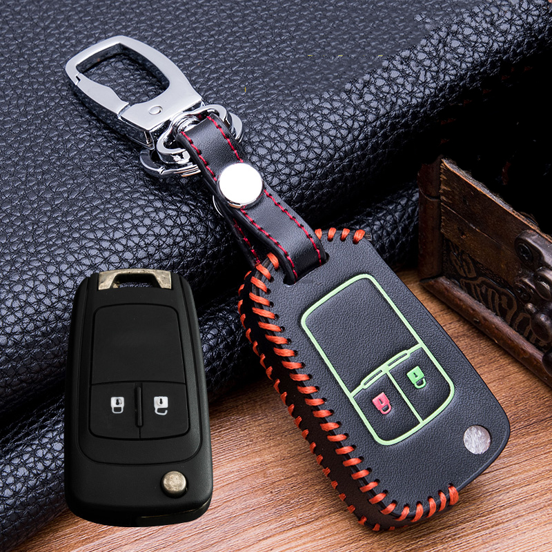 Image 4 - Hand sewing Luminous Leather  Key Holder Cover Case For buick Chevrolet Cruze Aveo TRAX Opel Astra Corsa Meriva Zafira Antara-in Key Case for Car from Automobiles & Motorcycles
