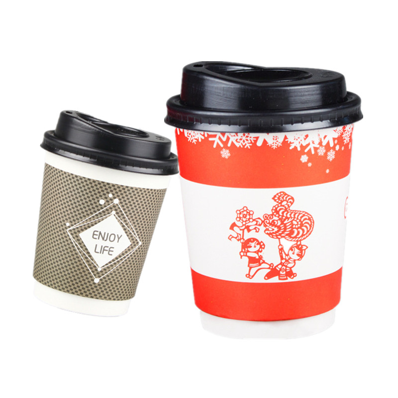50pcs 9OZ Disposable coffee cup thick double layer paper cup hot drink milk tea takeaway packaging cups party favor beverage cup Кубок