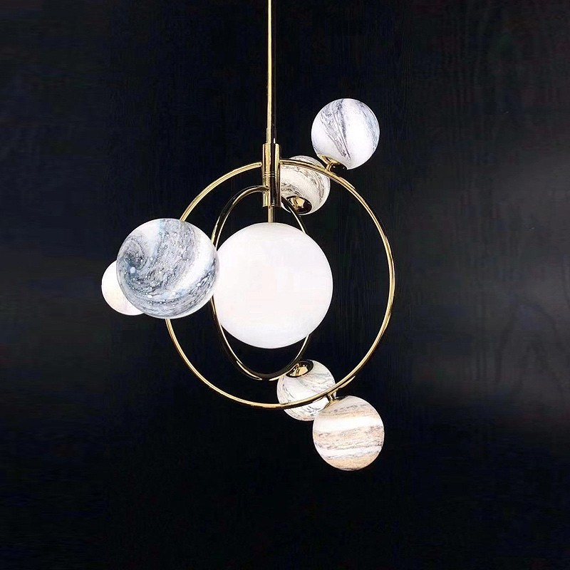 Seven Pendant Ceiling 3D Moon Lamp - Lamps & Lighting