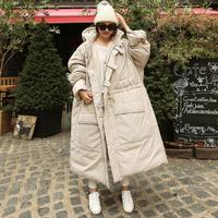 2018 new Winter women over the knee longer down cotton coat female thick warm hooded loose plus size padded cotton coats r522