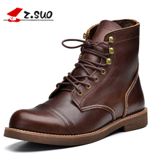 Z.suo Handmade Men Boots Genuine Leather Brown Round Toe Luxury Fashion Cow Leather Ankle Boots  Lace Up Shoes Mens Work Boots