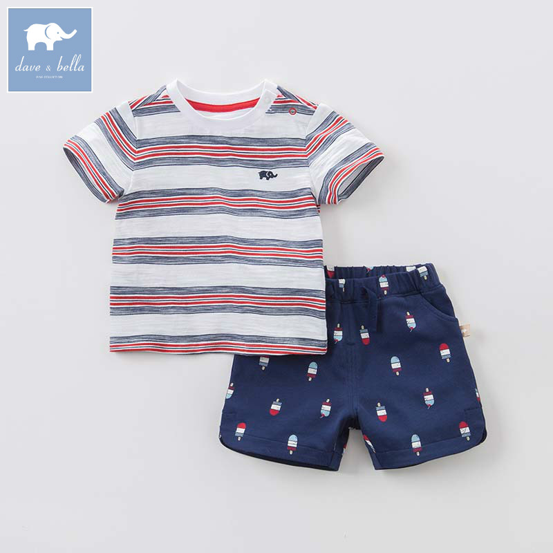 DB8282 dave bella summer baby outfits children high quality clothes kids fashion suit infant toddler boys clothing sets 2 pc new arrival baby boy clothes sets plaid gentleman suit infant toddler boys vest pants children kids clothing set outfits 2 8 age