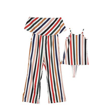 Family Matching Clothes Women Kid Girls Muti-Color Stripe Sleeveless Jumpsuit Loose Casual Comfortable Mother and Daughter Cloth