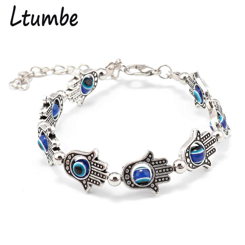 Ltumbe Vintage Tibet Silver Color Alloy Fatima Hands Bracelets & Bangles Evil Eyes Stone Beads Bracelets for Women Men Pulseras