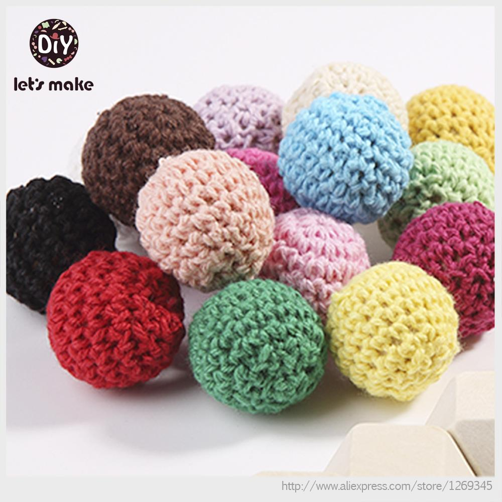 Let's Make Crochet Beads With Wood 50pc 30mm 20mm 3/4 Inch Crochet Round Wooden Beads Ball Knit Teething Wood Beads Choose Color