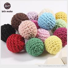 Lets Make Crochet Beads With Wood 50pc 30mm 20mm 3/4 Inch Crochet Round Wooden Beads Ball Knit Teething Wood Beads Choose Color