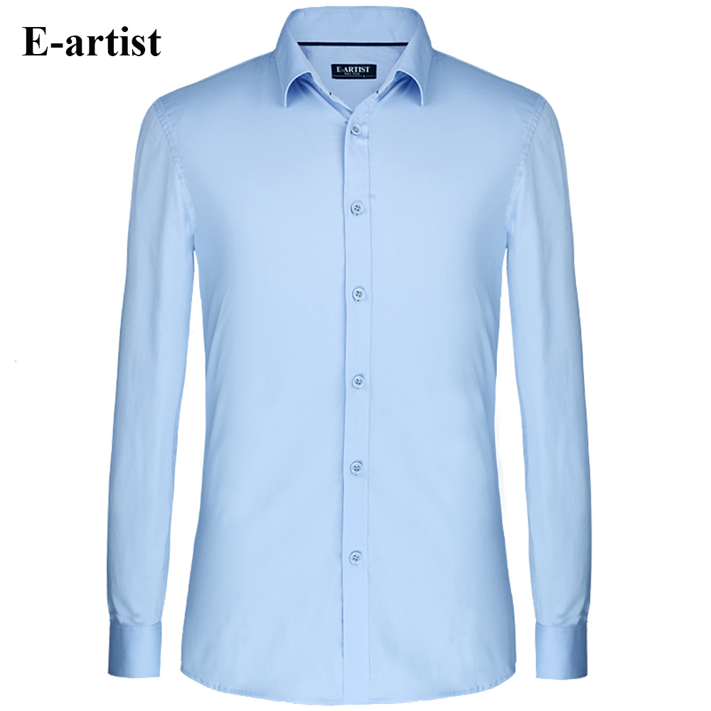 E artist men 39 s slim fit business casual long sleeve cotton for Long sleeve business shirts