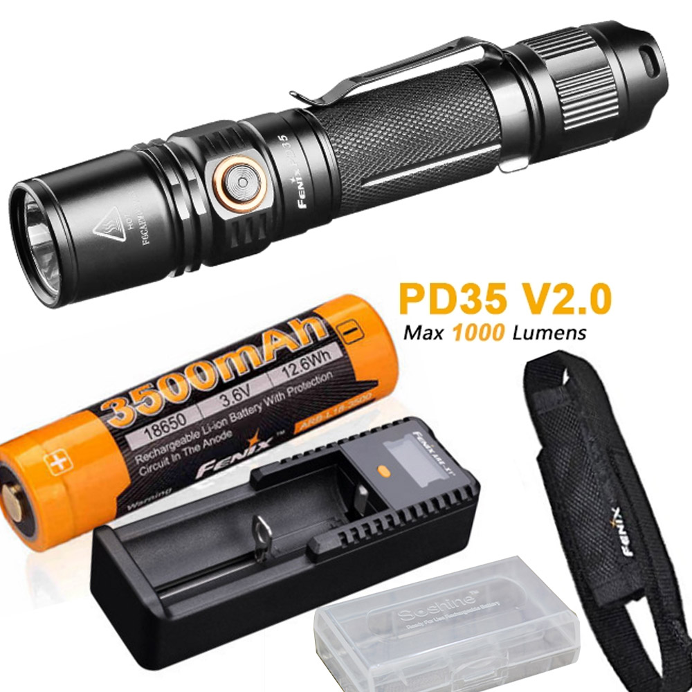 Fenix PD35 V2.0 2018 Upgrade 1000 Lumen Flashlight with ith ARB-L18-3500 18650 Battery,ARE-X1+ charger,holster,battery case
