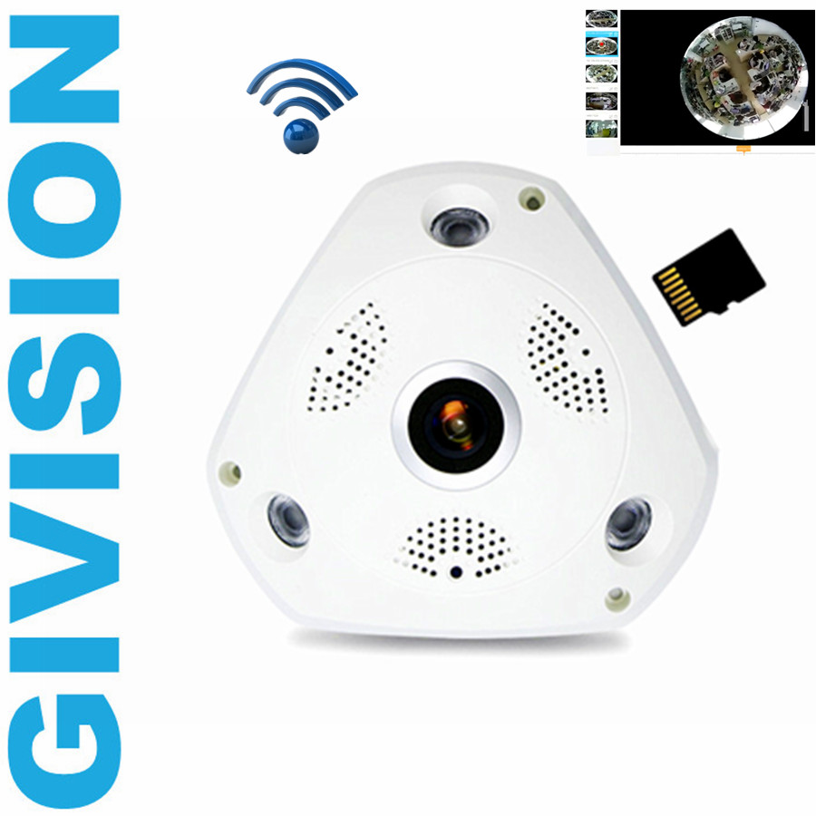 wireless WIFI fisheye ip camera 960P HD Panoramic wide angle 1.3MP network TF SD Card video surveillance 360 degree fish eye cam erasmart hd 960p p2p network wireless 360 panoramic fisheye digital zoom camera white