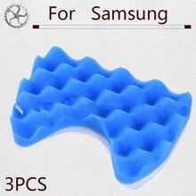 купить 3PCS Blue Sponge Hepa Filter & 3PCS Cotton Filter for Samsung DJ97-00492A SC6520/30/40/50/60/70/80/90 SC68 Vacuum Cleaner Parts по цене 300.95 рублей