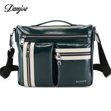 DANJUE Men Bag High Quality Genuine Leather Men Briefcase Business Shoulder Bag Men Fashion Oil Wax Leather Mens Handbag