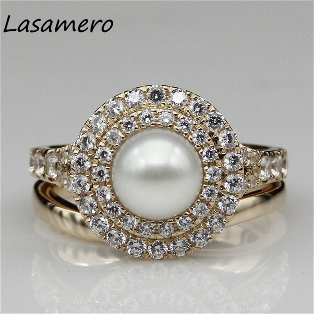 Pearl Wedding Ring: LASAMERO 9K Rose Gold Natural Pearl Bridal Sets Ring