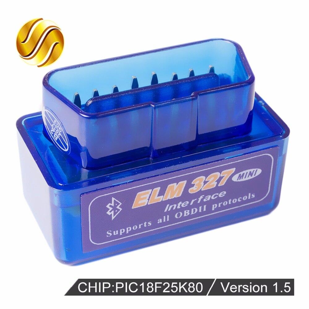 Versão V1.5 Super MINI ELM327 Bluetooth ELM 327 PIC18F25K80 Viecar 1.5 OBD2/OBDII para Android Torque Car Código Scanner