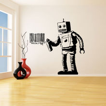 Banksy Vinyl Wall Decal Robot Graffiti Stickers Machine Painting Barcode Poster Street Decoration AY0159