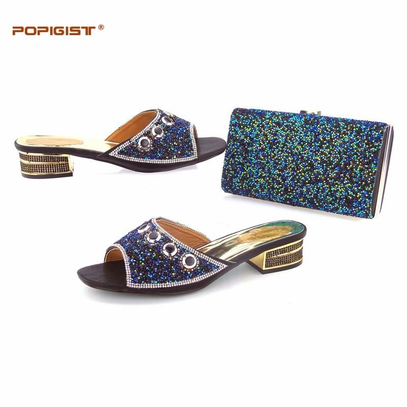 Schnelle Dhl Schwarz Italienische Schuhe Und Taschen Matching Set Für Hochzeit Und Niedrigen Ferse Komfortable Slipper Schuhe Mit Smart Hand Tasche