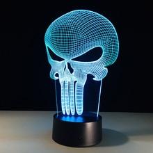 ledナイトライトスカルカラフルなアクリルusb ledテーブルランプクリエイティブパニッシャーアクションフィギュア パニッシャー図3d