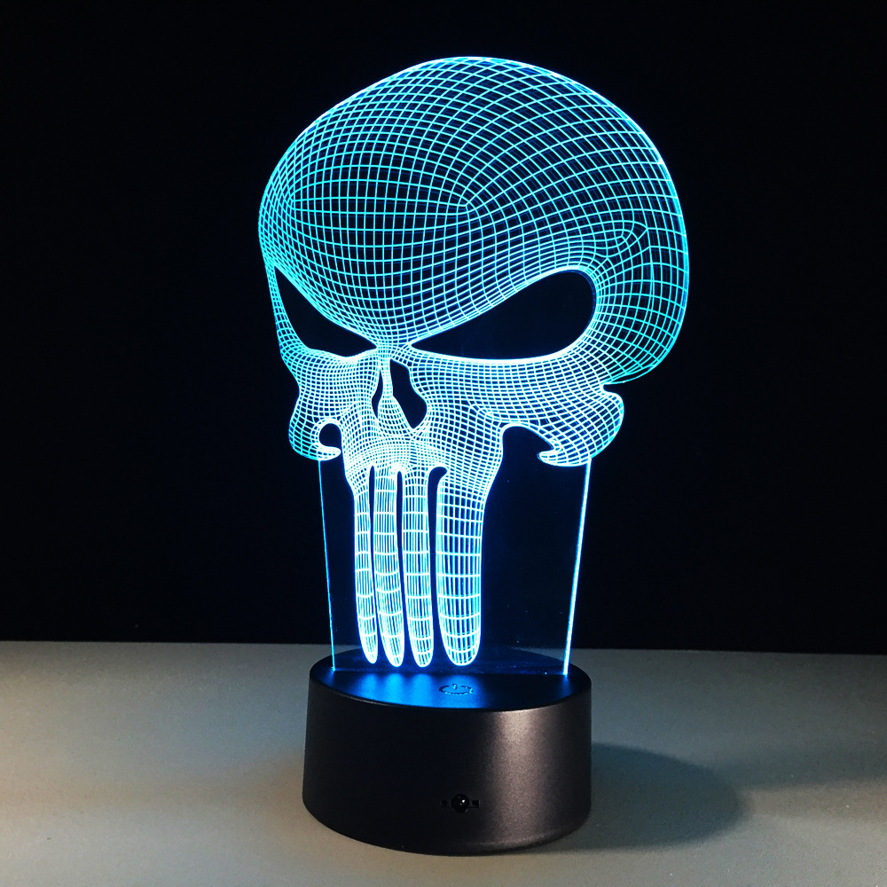 Punisher Gambar 3D Led Night Light Skull Colorful Acrylic USB Lampu Meja Kreatif Punisher Action Figure