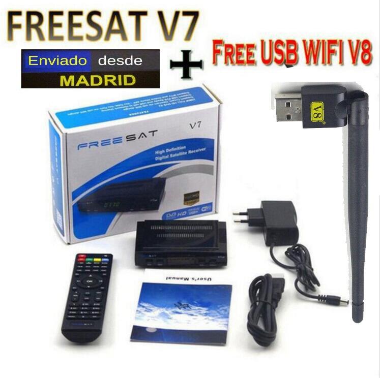 Freesat V7 2pcs wifi Satellite Receiver Spport DVB-S2 ccam PowerVu YouTube Full 1080P Europe Cline HD