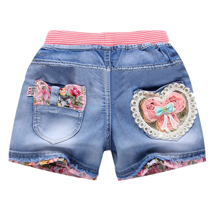 New Summer Kids Short Denim Shorts For Girls Fashion Girl Short Princess Jeans Children Pants Girls Shorts Flower Girls Clothing