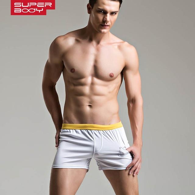 b346da3e59e Superbody Brand Men Boxer Shorts Cotton Comfortable Men s Underwear With  Small Pocket Male Colorful Home Pants Sleepwear Men Pan