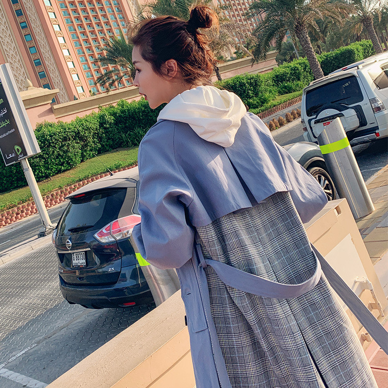 2019 New Spring Korean Fashion Women Striped Patchwork Windbreaker Turn-down Collar Full Sleeves Casual Long   Trench   Coat X883