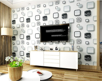 Beibehang Embossed Clothing Sofa TV Background 3d Wallpaper Black And White Photo Frame Circle Modern Minimalist