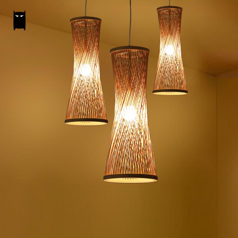 Bambou Osier Rotin Bugle Ombre Suspension Luminaire Rustique