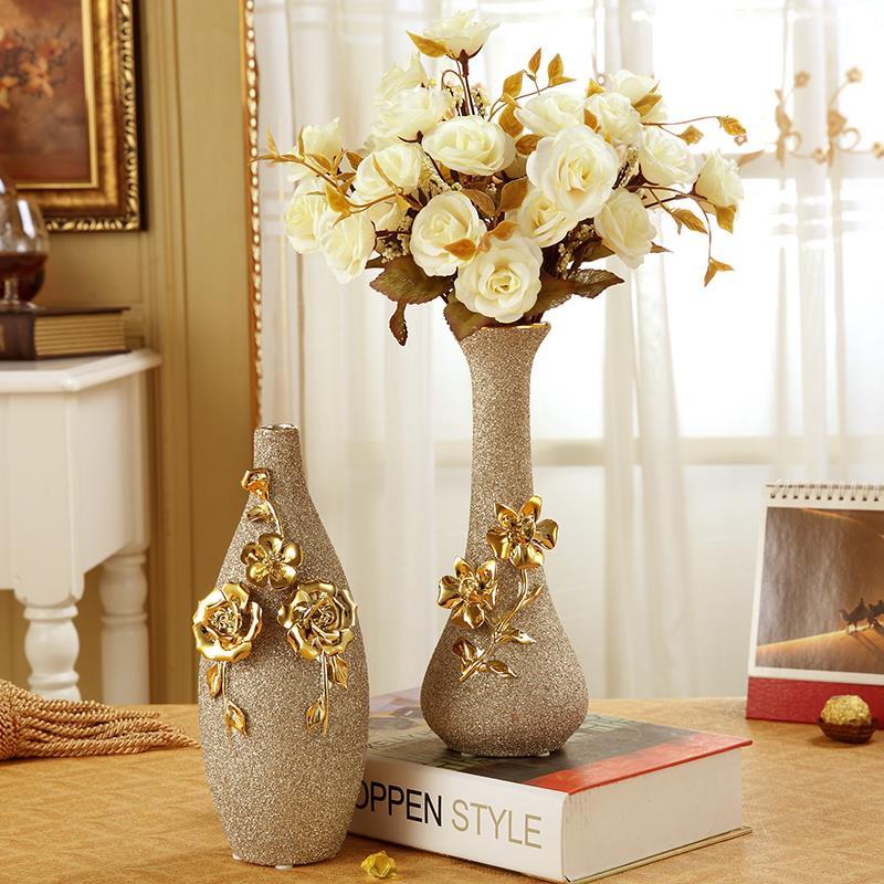 Mosaic flowers golden white 2016 new real porcelain flower - Decoracion para jarrones ...