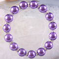 "Free Shipping New without tags Fashion Jewelry Zinc Alloy Purple 12MM Pearl Beads Bracelet Stretch 8"" 1Pcs RH1366"