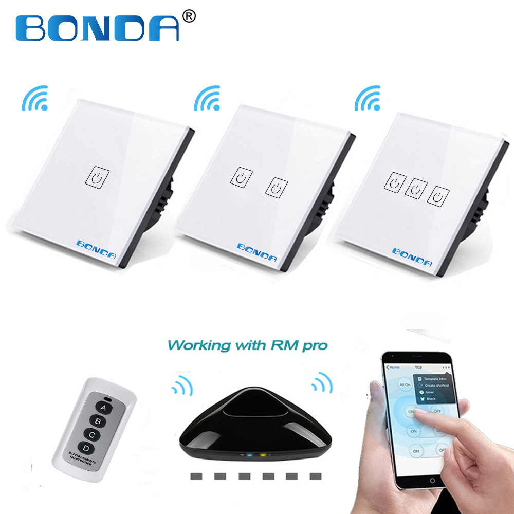 Bonda Nyata EU/UK Standard 1/2/3 Terbuka W/B Wireless Remote Touch Switch Mewah kaca Kristal Panel Dinding Lampu