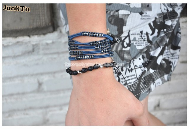 2016 free shipping gunmetal nuggets with blue thread leather biker wrap bracelet  men
