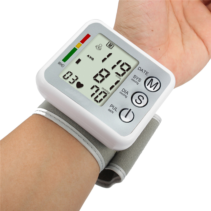 Автоматическая наручные цифровой крови Давление монитор сердечного ритма Beat pulse meter манжеты измерения тонометр Сфигмоманометр здравоохран...