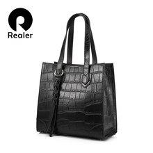 9ad8a2c9f039 Realer Брендовые женские сумки натуральная кожа женские сумки Женская  Повседневная сумка большая емкость леди сумки посыльного