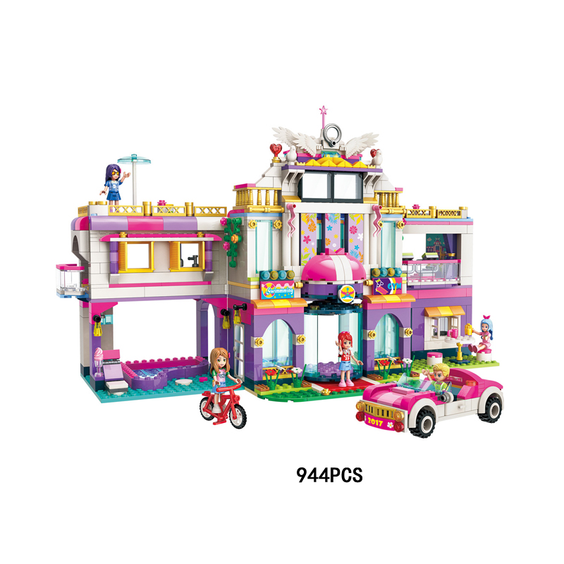 Hot My good friends colourful holiday Villa Hotel building block boys girls figures car bike bricks toys for kids gifts цена